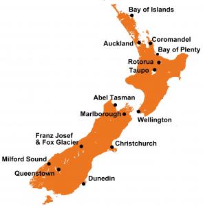 Bestemmingen Nieuw Zeeland