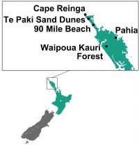 Cape Reinga & 90 mile beach kaart