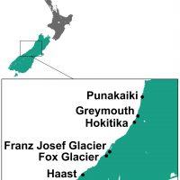 West Coast Nieuw Zeeland kaart